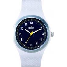 Braun Mens Sport Analog Plastic Watch - White Rubber Strap - Black Dial - BN0111BKLGYG