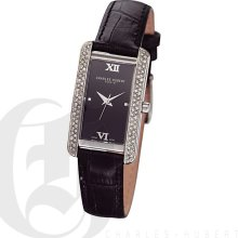 Charles Hubert Classic Ladies Black Dial Elegant Bracelet Watch with Swarovski Crystal 6669-BB