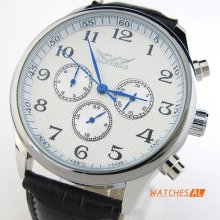 Cool Mens White Dial Black Leather Band Automatic Mechanical Watch Wrist Watch