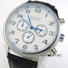 Fashion Mens White Dial Blue 6 Hands Sub-dials Date Automatic Mechanical Watch