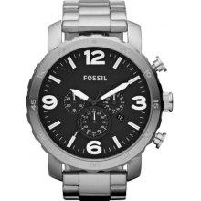 Chronograph Fossil Bracelet Stainless 50mm Jr1353 Nate Watch Mens Steel 13TKclFJ