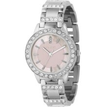 Fossil Ladies Dress Watch Es2189 With Pink Dial, Stainless Steel Case And Bracelet