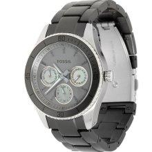 FOSSIL New Ladies Round Stella Stainless Steel Watch Grey Aluminum Bracelet