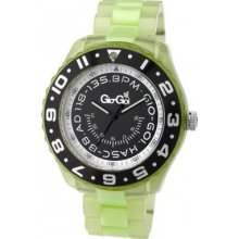 Gio Goi Men's Quartz Watch With Black Dial Analogue Display And Green Plastic Or Pu Bracelet Gg1023uv