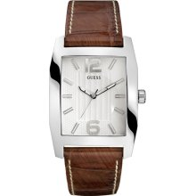 Guess Men's Quartz Watch With White Dial Analogue Display And Brown Leather Strap W70023g2