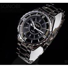Hot Sale Sinobi Mens White Black Plated Stainless Steel Fashion Wrist Watch