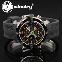 940fe0d97964 Infantry Mens Luxury Sport Quartz Digital Chrono Alarm Watch Rubber Band