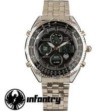 Infantry Police Mens Lcd Chronogrpah Digital Stainless Steel Quartz Army Watch