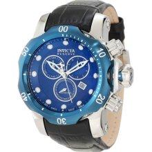 Invicta Men's Mid-Size Stainless Steel Reserve Venom Quartz Chronograph Diver Blue Dial Leather Strap 10821