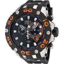 Invicta Men's Reserve Diver Chronograph Swiss Quartz Black Dial Strap Orange 0905