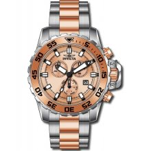 Invicta Pro Diver Chronograph Rose Dial Two-tone Mens Watch 13627
