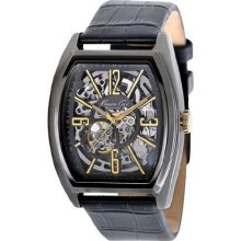 Kenneth Cole Mens New York Automatic Stainless Watch - Black Leather Strap - Skeleton Dial - KC1895