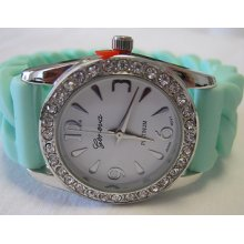 Ladies Geneva Mint Green Watch 21 Silicone Band +michael Kors Perfume