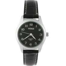 Ladies Round Dial Stainless Steel Leather Band Wrist Watch (Black Dial) - Black - Stainless Steel