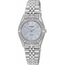 Ladies' Seiko Solar Swarovski Crystal Watch with Mother-of-Pearl Dial (Model: SUP093) seiko
