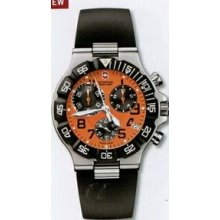 Large Orange Dial Chronograph Summit Xlt Watch With Black Synthetic Strap
