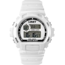 Limit Unisex Digital Watch With White Dial Digital Display And White Plastic Strap 6971.56