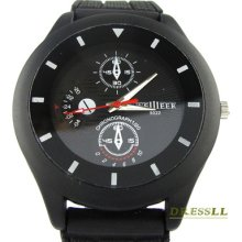 Mens Boys Fashion Black Dial Sport Style Black Rubber Band Quartz Wrist Watch