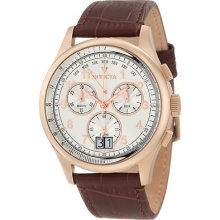 Mens Invicta 10761 Vintage Chronograph Silver Tone Dial Brown Swiss Quartz Watch