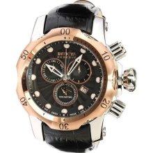 Mens Invicta 10809 Venon Reserve Chronograph Black Textured Leather Dial Watch