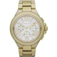 Michael Kors Ladies Gold Tone Stainless Steel Quartz Chronograph Date Display Silver Dial MK5635