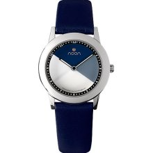 Noon Copenhagen Womens Kolors Stainless Watch - Blue Rubber Strap - White Dial - 36-015