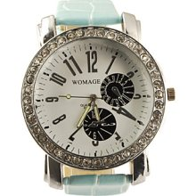 PU Big Dial Leather Band Crystal Characteristic Women Girl Ladies Wrist Watch - Light Blue