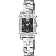 Pulsar Ladies Swarovski Crystal Watch - Black Dial - Stainless Steel PEGD39