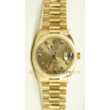 Rolex 31mm Midsize 18K Yellow Gold President Model 68278 Custom Added Champagne Diamond Dial