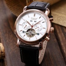 Rose Gold Case Automatic Mechanical White Dial Leather Mens Wrist Watch Usts