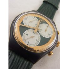Scb107 Swatch 1991 Rollerball Chrono Authentic Gold Art