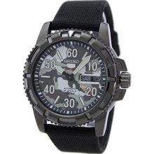 Seiko 5 Automatic Camouflage Dial Black Nylon Strap Mens Watch SRP225K2