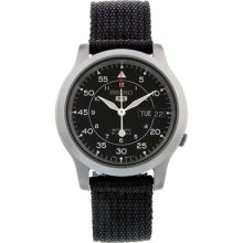 Seiko 5 Black Dial Black Canvas Strap Automatic Mens Watch Snk809k2