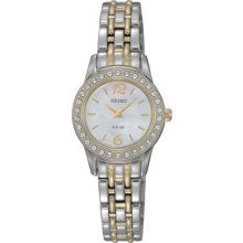 Seiko Ladies Two Tone Stainless Steel Solar Quartz Mother of Pearl Dial Swarovski Crystals SUP126