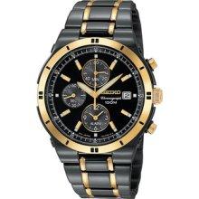 Seiko Mens Alarm Chronograph Black Ion Watch