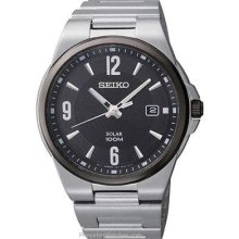 Seiko Mens Solar Stainless Steel Date Watch Black Dial SNE211