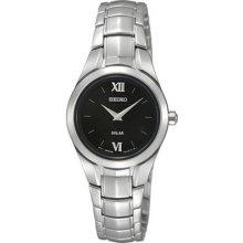 Seiko Sup107 Women's Watch Stainless Steel Solar Quartz Black Dial