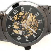 Skeleton Roman Numeral Hour Iron Black Steel Men Gift Automatic Mechanical Watch