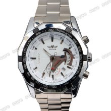 Stainless Steel Automatic Mechanical Calendar Mens Wrist Watch Wristwatch White
