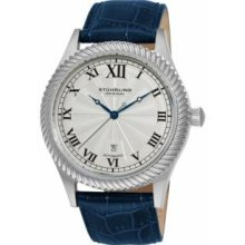 Stuhrling Original 91C.3315C2 Mens Classic Romeo Slim Swiss Quartz with Stainless Steel Case Silver Dial and Blue Leather Strap Watch