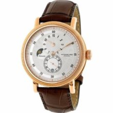Stuhrling Original 97.3345K2 Mens Classic Century Plaza Slim Swiss Quartz with Rosegold Plated Stainless Steel Case Silver Dial and Brown Leather Strap Watch