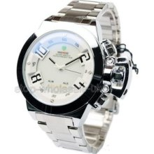 Unique Analog Digital Led Display Mens Stainless Steel Sports Wrist Watch White