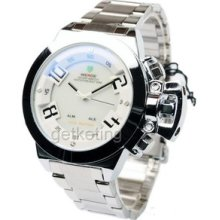 Unique Analog Digital Led Display Mens Gift Stainless Steel Sports Wrist Watch
