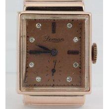 Vintage Retro Antique 14k Rose Gold Diamond & Ruby Hooded Lug Mechanical Watch