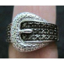 925 Sterling Silver Buckle Ring With Black Diamond In Size 6.25