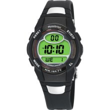 Armitron Digital Sport Watch w/Round Red Top Ring, Green Dial & Black Resin Band