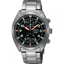 Authentic Seiko Chronograph Mens Stainless Steel Case Sports Watch Snn235p1