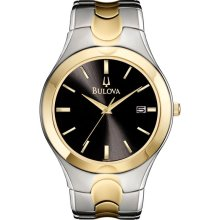 Bulova Mens Stainless Steel & Gold-Tone Watch - Black Dial - Date 98B133