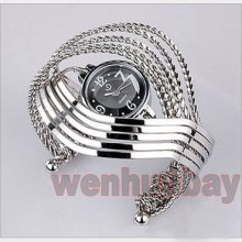 Charm Bracelet Bangle Quartz Ring Wrist Watch Wave Cross Ladies Womens Girl's