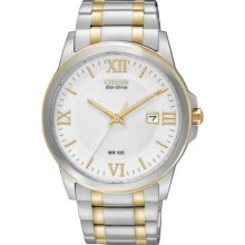 Citizen BM7264-51A Watch Bracelet Mens - White Dial Stainless Steel Case Quartz Movement